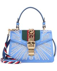 Gucci Blue Tote Sylvie Mini aus Satin