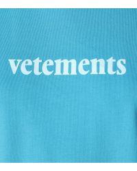 T-shirt in cotone con stampa di Vetements in Blue