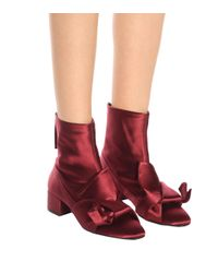 N°21 Red Satin Ankle Boots