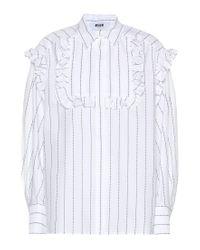 Camicia a righe in cotone con ruches di MSGM in White