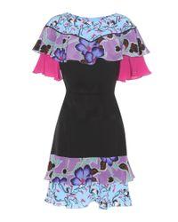 Etro - Black Ruffled Silk Dress - Lyst