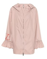 Valentino Pink Ruffle-trimmed Nylon-poplin Jacket