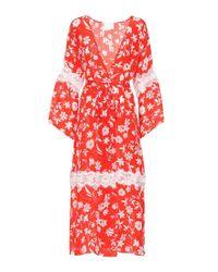 Kimono Farah in seta a stampa di Athena Procopiou in Red