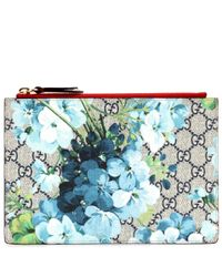 Gucci Blue Blooms Gg Supreme Printed Canvas And Leather Clutch
