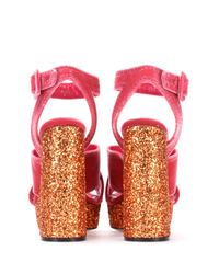 Miu Miu Pink Velvet And Glitter Plateau Sandals
