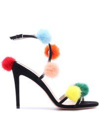 Fendi Black Fur-trimmed Suede Sandals