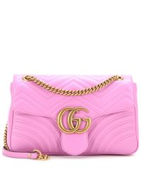 Gucci Pink Schultertasche GG Marmont Medium aus Matelassé-Leder