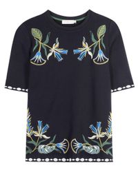 Tory Burch - Blue Ainsley Embroidered Cotton Jersey Top - Lyst