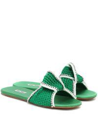Miu Miu Green Crochet Sandals