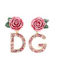 Dolce & Gabbana Pink Clip-Ohrringe mit Kristallen