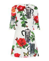 Dolce & Gabbana - White Floral Cotton-blend Dress - Lyst