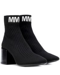 MM6 by Maison Martin Margiela Black Ankle Boots aus Stretch-Strick