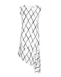 Balenciaga - White Graphic Net Frill Crepe Dress - Lyst