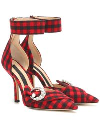 MIDNIGHT 00 Red Corset Checked Pumps