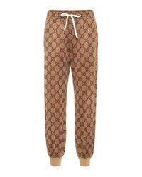 Pantaloni sportivi in misto cotone di Gucci in Multicolor