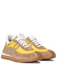 Loewe Brown Sneakers Flow Runner aus Veloursleder