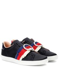 Gucci Black Ace Embellished Satin Sneakers