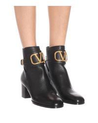Valentino Garavani Black Ankle Boots VLOGO aus Leder