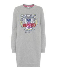 KENZO Gray Embroidered Cotton Sweater Dress