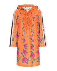 Gucci Orange Floral-printed Jersey Minidress