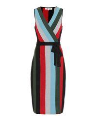 Diane von Furstenberg Red Metallic Knitted Wrap Dress