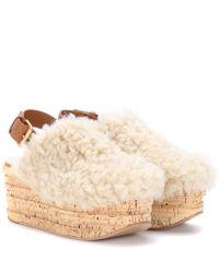 Chloé - White Camille Platform Shearling Sandals - Lyst