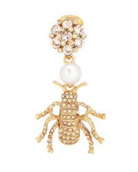 Oscar de la Renta - Metallic Crystal-embellished Clip-on Earrings - Lyst