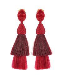 Oscar de la Renta - Red Clip-on Earrings - Lyst