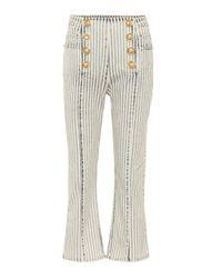 Jeans cropped de tiro alto Balmain de color Multicolor