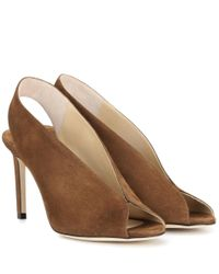 Jimmy Choo - Brown Shar 85 Suede Sandals - Lyst
