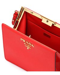 Prada - Red Exclusive To Mytheresa.com – Saffiano Leather Shoulder Bag - Lyst