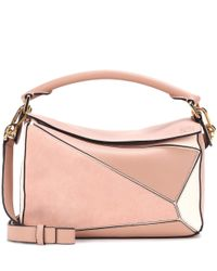 Borsa Puzzle Small in pelle e suede di Loewe in Pink