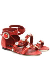 Dolce & Gabbana Red Sandalen aus Leder mit Kristallen
