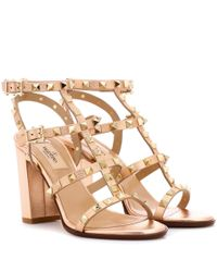 Valentino Metallic Valentino Garavani Rockstud Leather Sandals