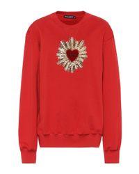 Dolce & Gabbana Red Embellished Cotton Sweatshirt