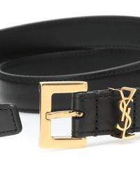Cinturón Monogram de piel Saint Laurent de color Black