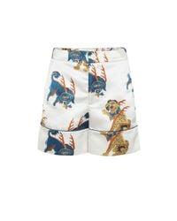 Kirin White Bedruckte Shorts aus Satin