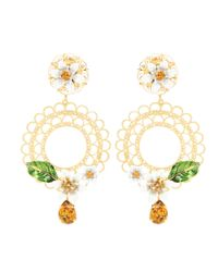 Dolce & Gabbana - Metallic Crystal-embellished Clip-on Earrings - Lyst