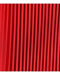 Prada Red Pleated Twill Midi Skirt
