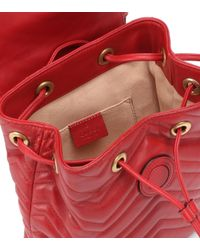 Gucci Red GG Marmont Leather Backpack