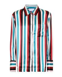 Asceno Blue Gestreifte Pyjama-Bluse aus Seide