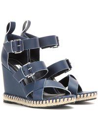 Balenciaga - Blue Leather Wedge Sandals - Lyst