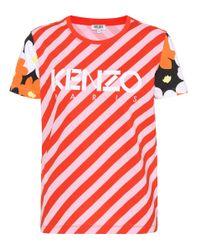 T-shirt en coton rayé KENZO en coloris Red