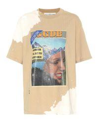Golden Goose Deluxe Brand Natural Bedrucktes T-Shirt aus Baumwolle