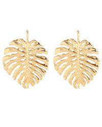 Oscar de la Renta Metallic Palm Leaf Earrings