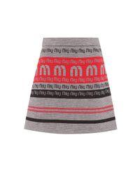 Miu Miu Gray Logo Wool-blend Knitted Skirt