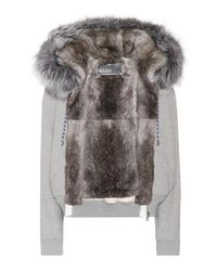 Army by Yves Salomon Gray Fur-lined Cotton Hoodie