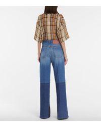 Victoria Beckham Blue Patchwork High-rise Flared Jeans