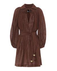 Lisa Marie Fernandez Brown Minikleid aus einem Leinengemisch