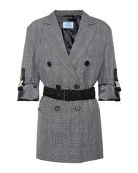 Prada Gray Karierter Blazer aus Wolle
